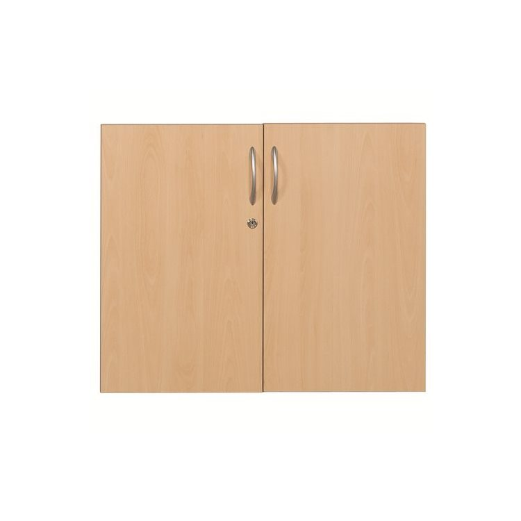 Set of 2 low doors H 65 cm in beech for shelving