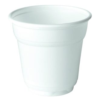 Disposable plastic cups 10 cl white - Set of 100