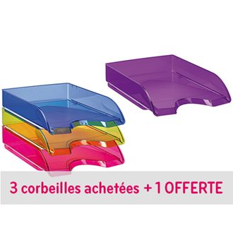 Pack 3 letter trays french style Cep Tendance assorted colours + 1 free