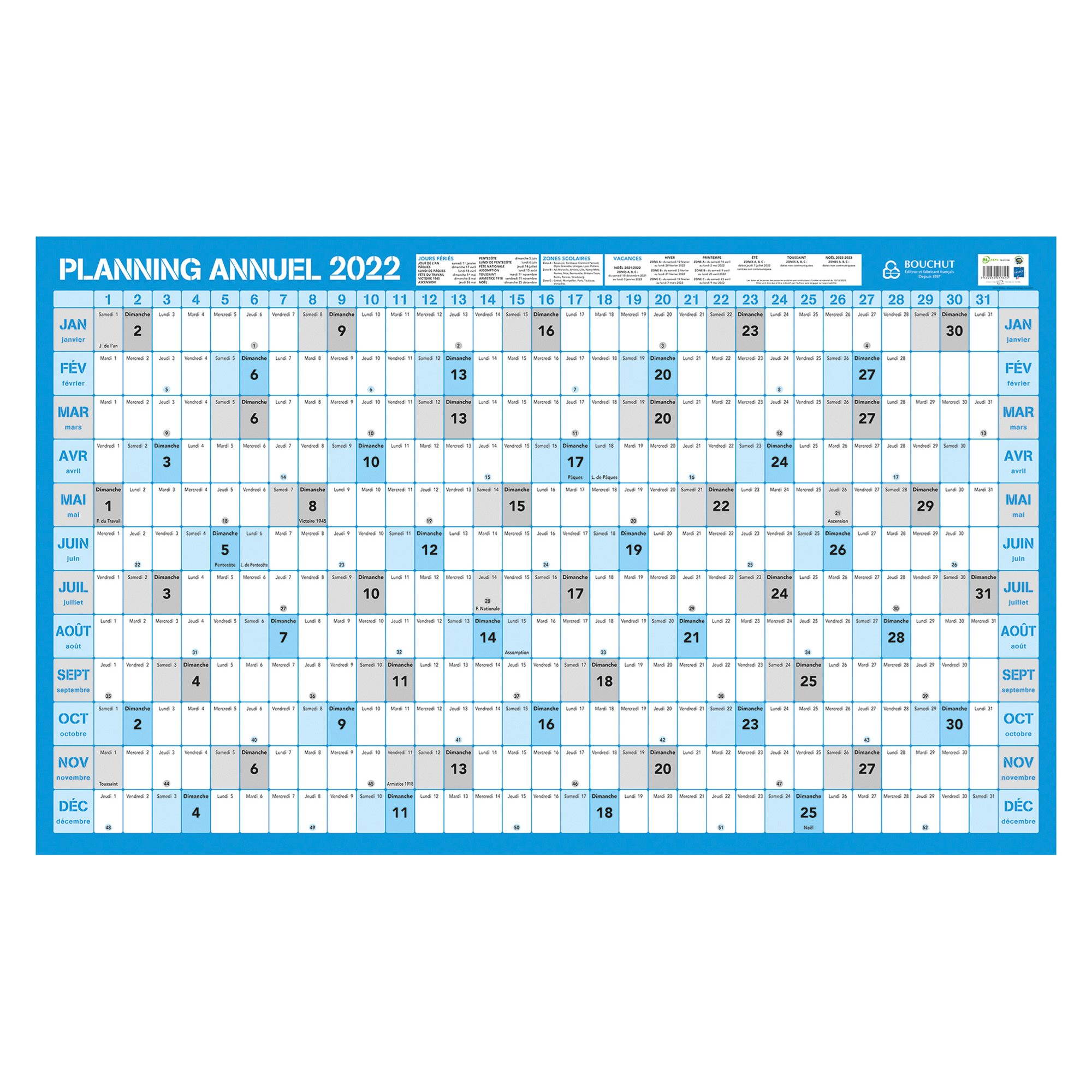 Calendrier Annuel 2020.Planning Annuel 2020 Effacable 60 X 99 Cm