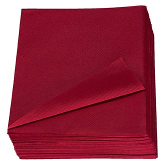 Serviette de table bordeaux non tissé 40 x 40 cm - Lot de 50