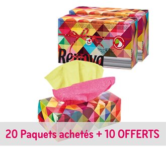 Pack 20 + 10 boxes of handkerchiefs Red Label bicoloured Renova