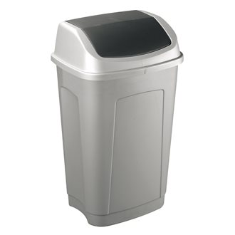 Garbage can 50l flipping cover, grey