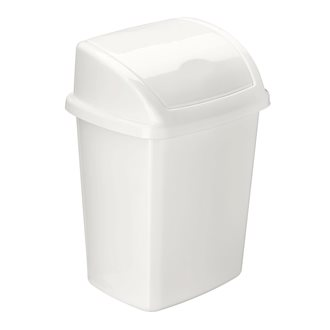 White plastic trash can with swing lid - 4.5 L