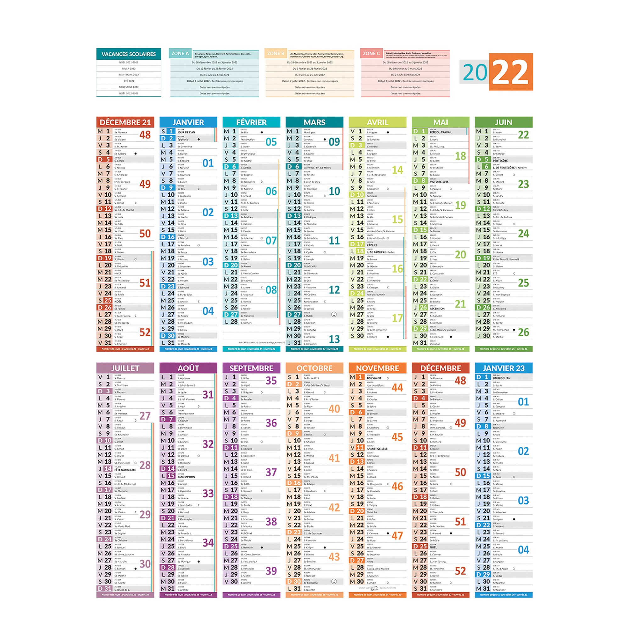 Calendrier Vaccinations 2020.Calendrier Annuel Mural 2020 Carte France 55 X 43 Cm