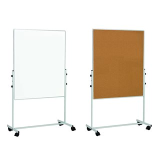 Double-sided mobile board, lacquered and cork