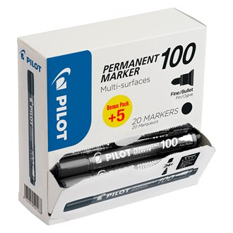 Pack of 15 permanent markers PILOT 100 conical point 4,5 mm black + 5 for free