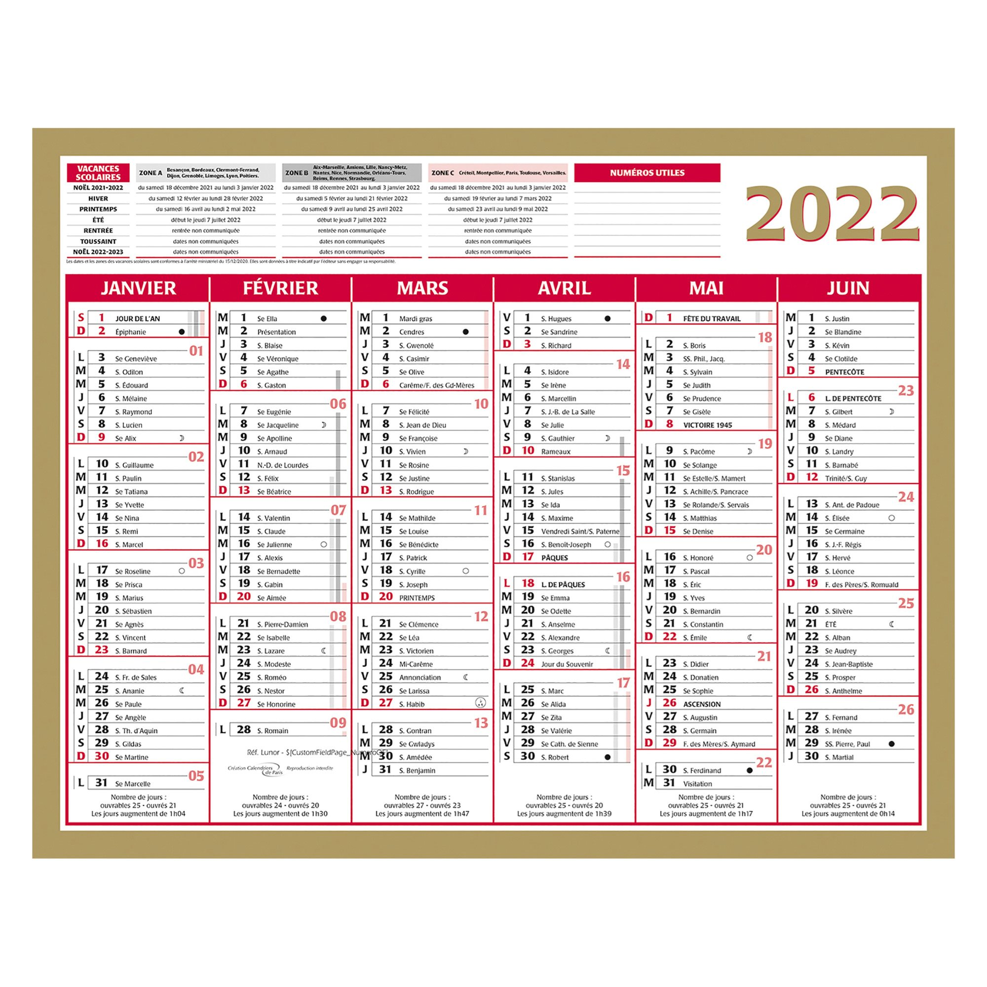 Calendrier 2020 Semestriel.Calendrier Semestriel Mural 2020 Or 21 X 26 5 Cm