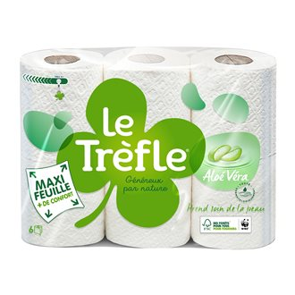 Toilet paper double thickness Le Trèfle aloe vera - pack of 18 rolls