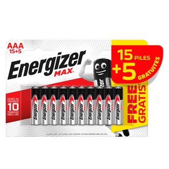 Pile alcaline AAA - Pack 15 piles LR3 Energizer Max + 5 offertes