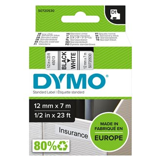 Ribbon polyester Dymo D1 S0720530 12 mm white with black text
