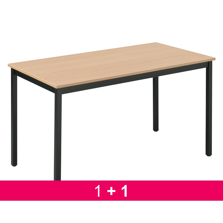 Pack 1 table Multi-usages éco hêtre/noir L 120 x P 60 cm achetée = 1 table offerte