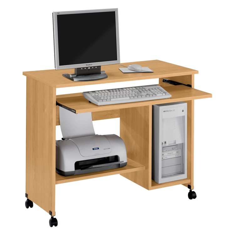 Bureau informatique mobile Start Plus piètement bois