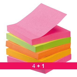 Pack de 4 + 1 notes 76 x 76 mm Post-it néon assortis Super Sticky