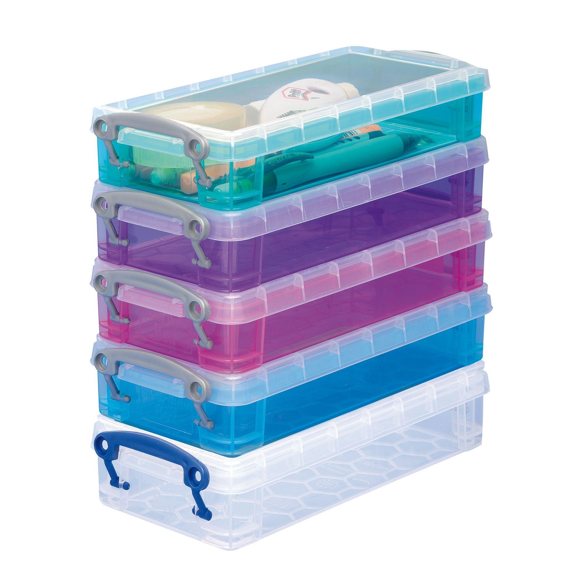 Boite De Rangement Plastique 0 55 L Really Useful Box Couleurs Assorties Lot De 5