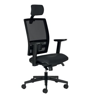 Pack 1 office chair Bruneau Activ net structure + 1 head support + 1 set 1D arm supports for free