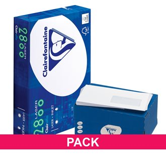 Pack 10 reams A4 80 g + 500 envelopes 110 x 220 mm with window Clairefontaine
