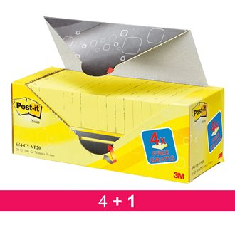 Pack 16 + 4 Notes Post-it jaune 76 x 76 mm