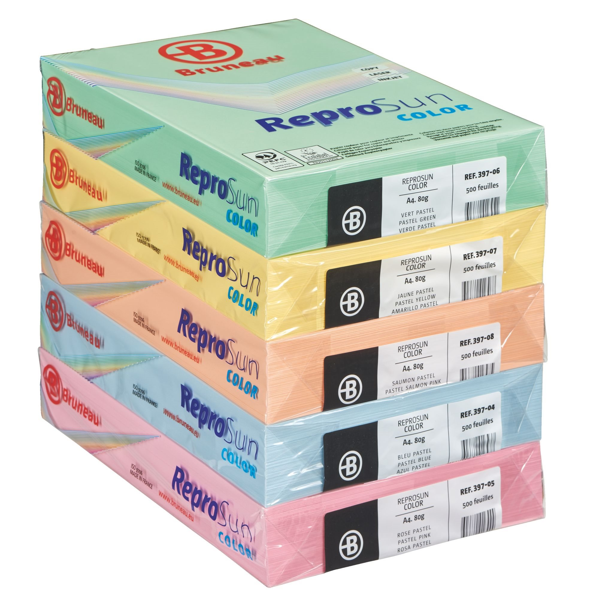 JMB Repro Sun, pack of 5 reams, A4, 80 g, assorted pastel colours
