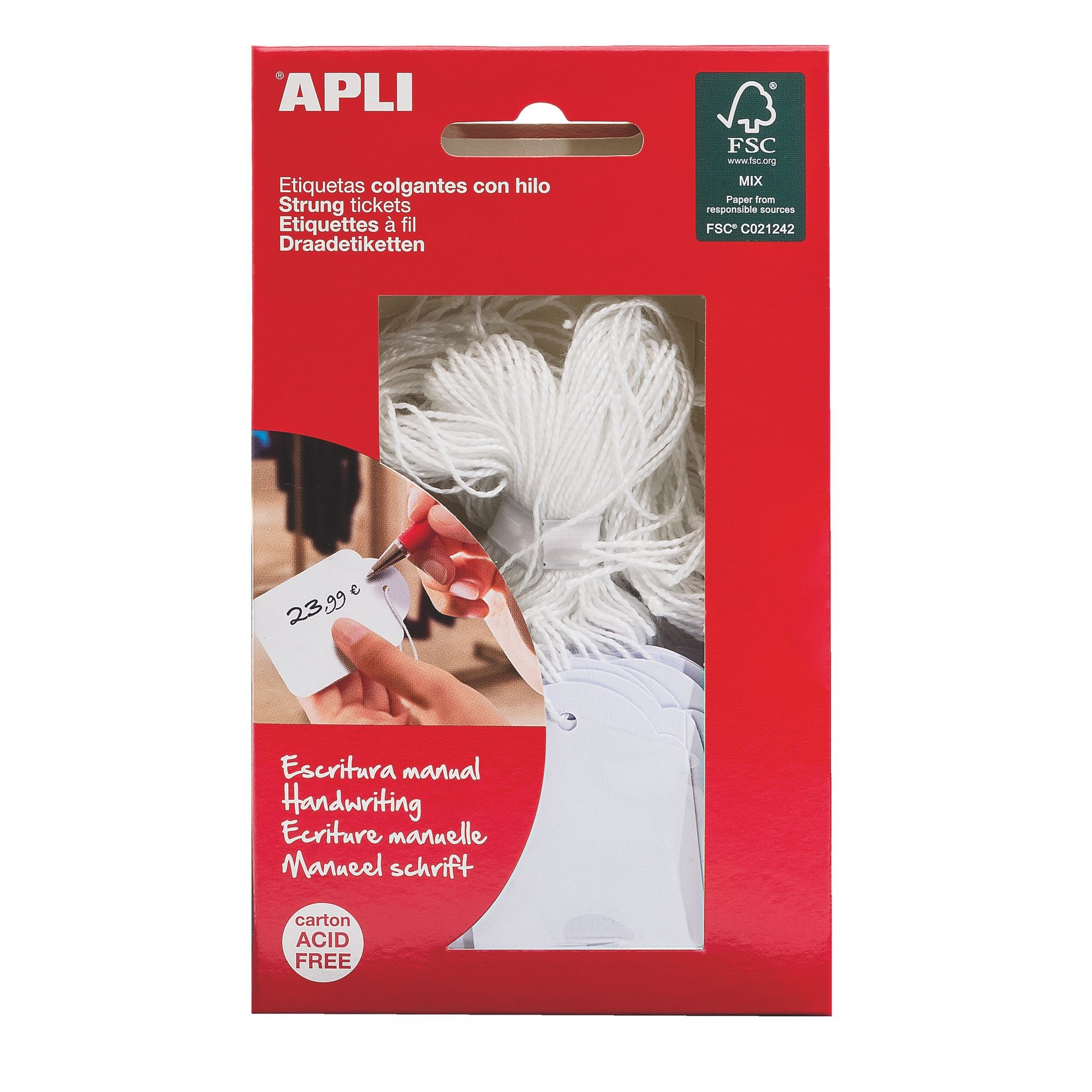 Box of 100 labels with cord Apli 53 x 36 mm