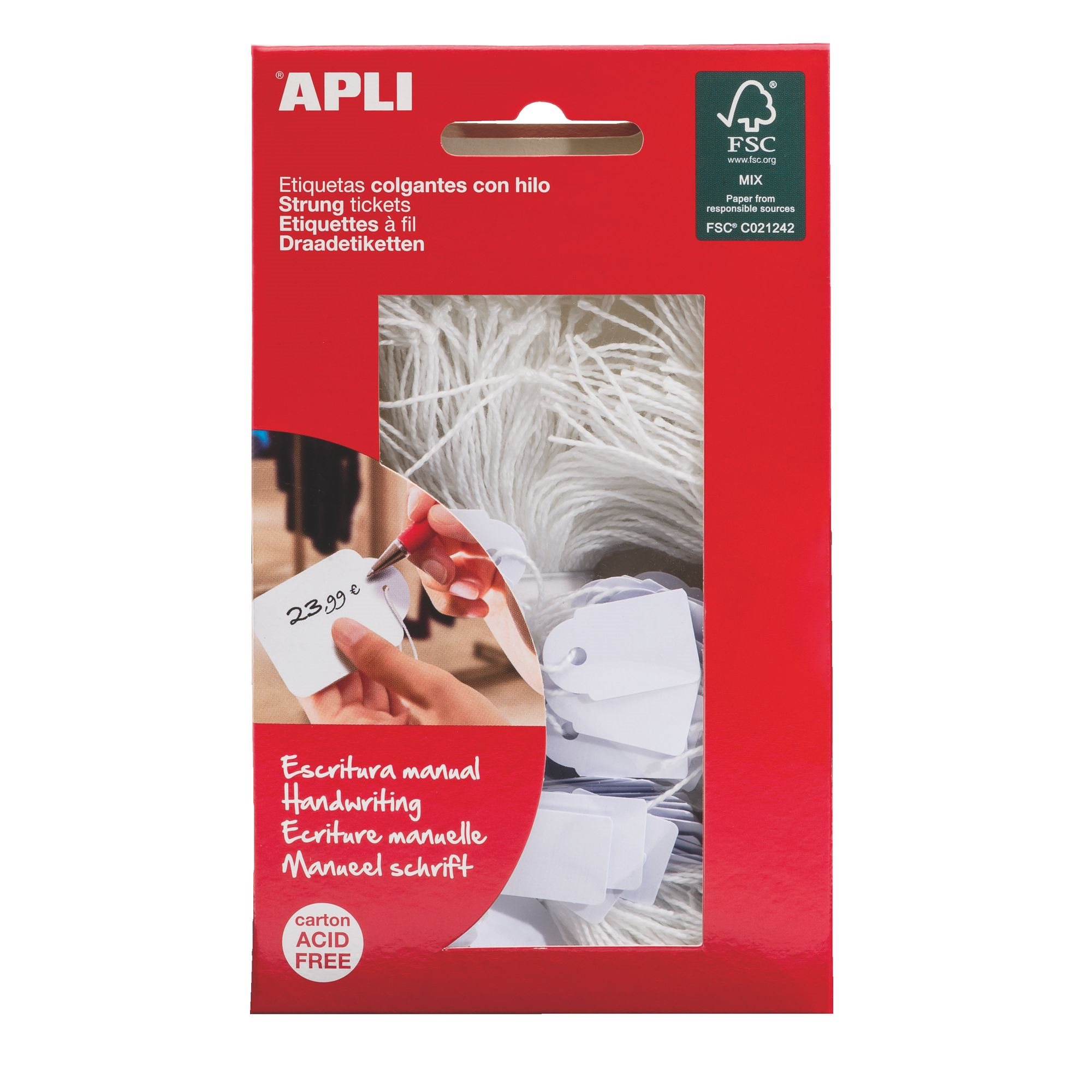 Box of 200 labels with cord Apli 24 x 15 mm