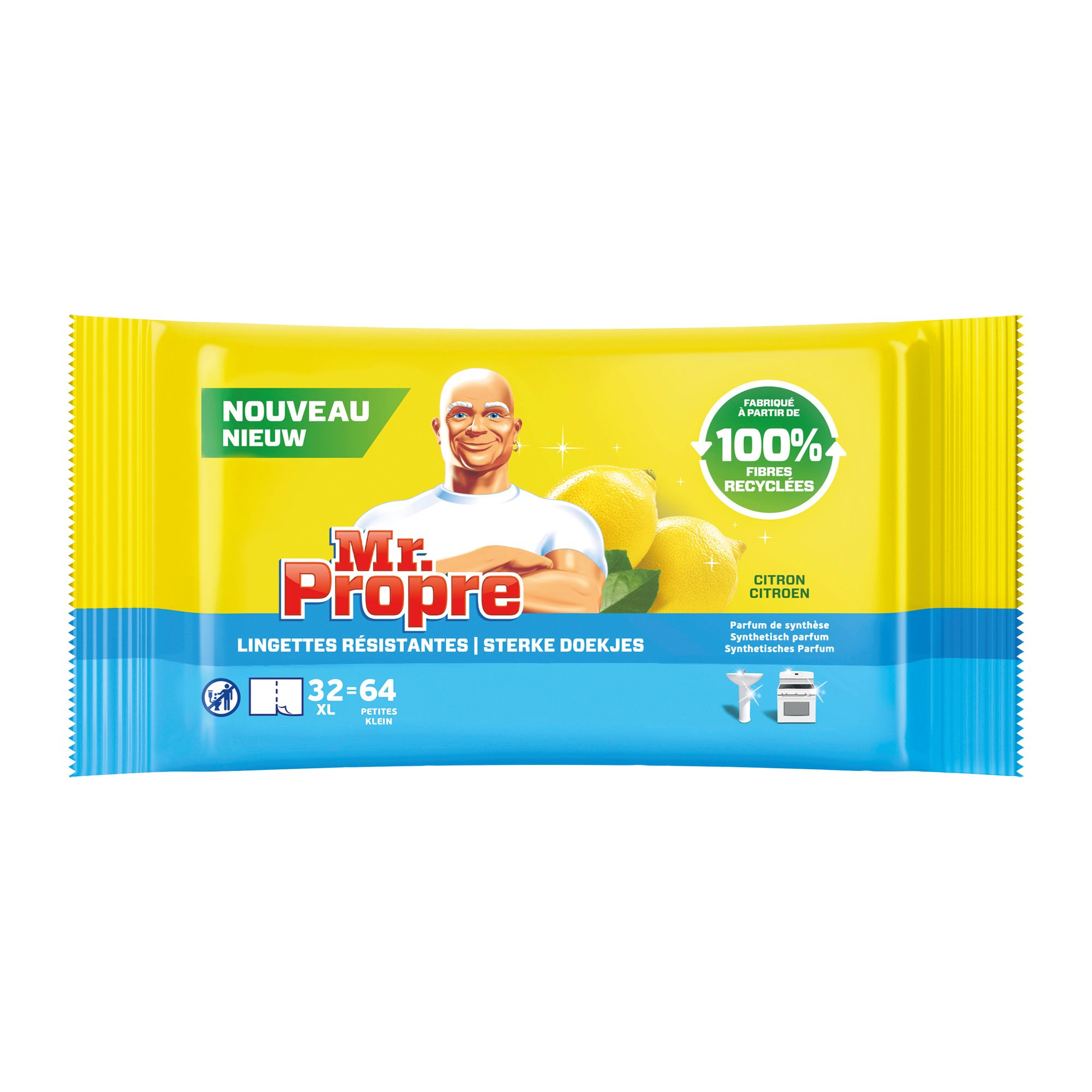 Pack with 2 cleaning cloths multiple surfaces Mr Proper lime - pack of 64 +1 for free