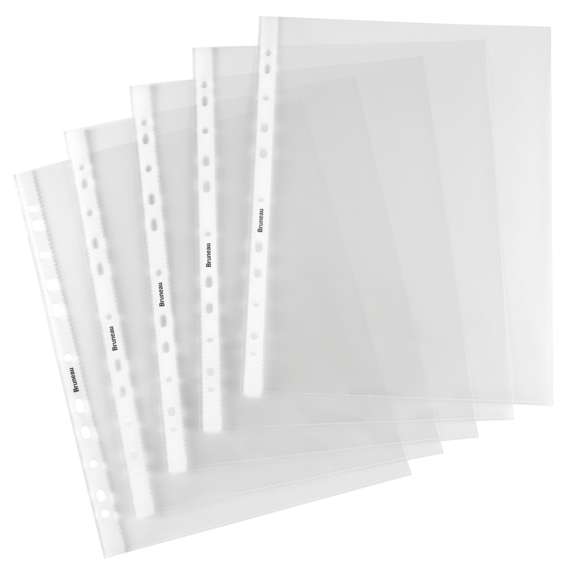 Pack of 100 perforated sleeves Bruneau A4 grained polypropylene 6/100e