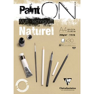 Paint'ON Naturel bloc collé 30F A4 250g