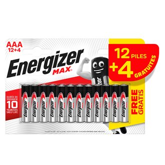Blister of 12 batteries + 4 free LR3 Energizer Max