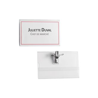 Box, 50 badges with clip-pin, Bruneau 54x90 mm