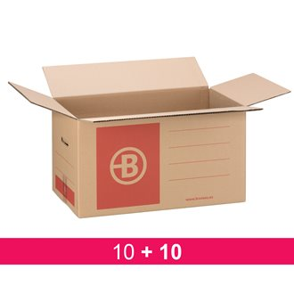 Pack 10 +10 moving boxes Bruneau brown kraft double undulated W 55,5 x D 33 x H 30 cm
