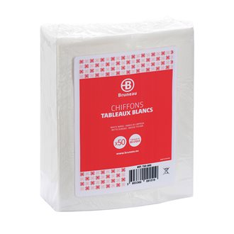 White cloths for whiteboards Bruneau - pack of 50