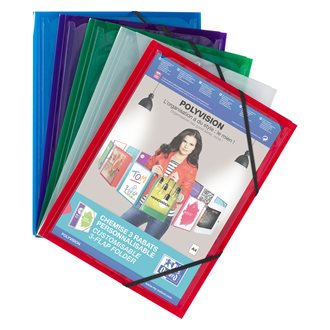 Sleeve with elastics and 3 folds in plastic Elba 24 x 32 cm personalizable back 1,5 cm assortment