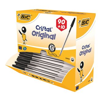 Pack 90 stylos cristal Bic noirs + 10 offerts