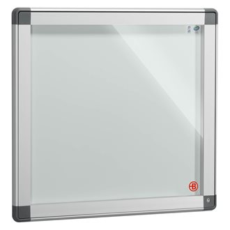 Information board, coloured frame, hinged door, H 71 x W 74 cm, for 6 sheets