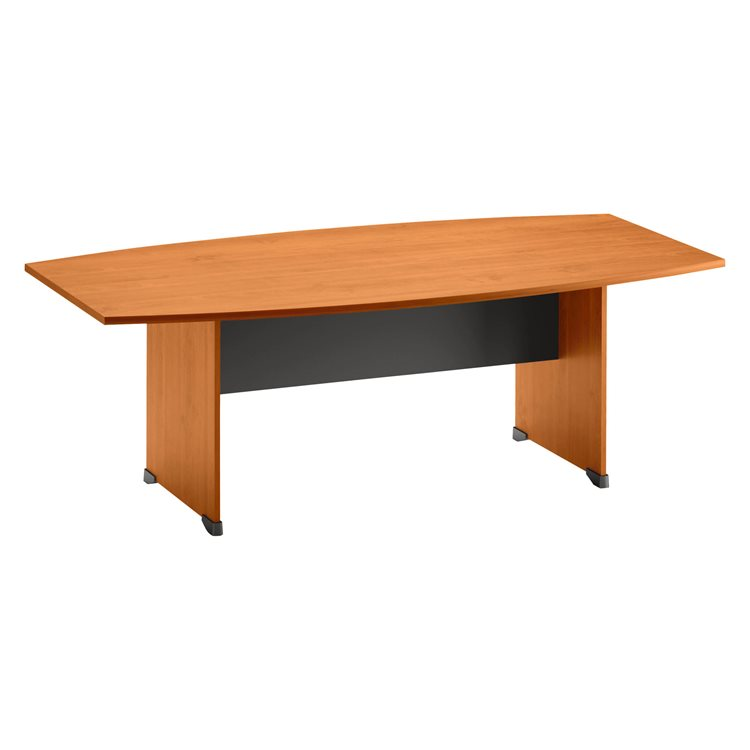Vessel-shaped meeting table with full undercarriage in wood Quarta Plus