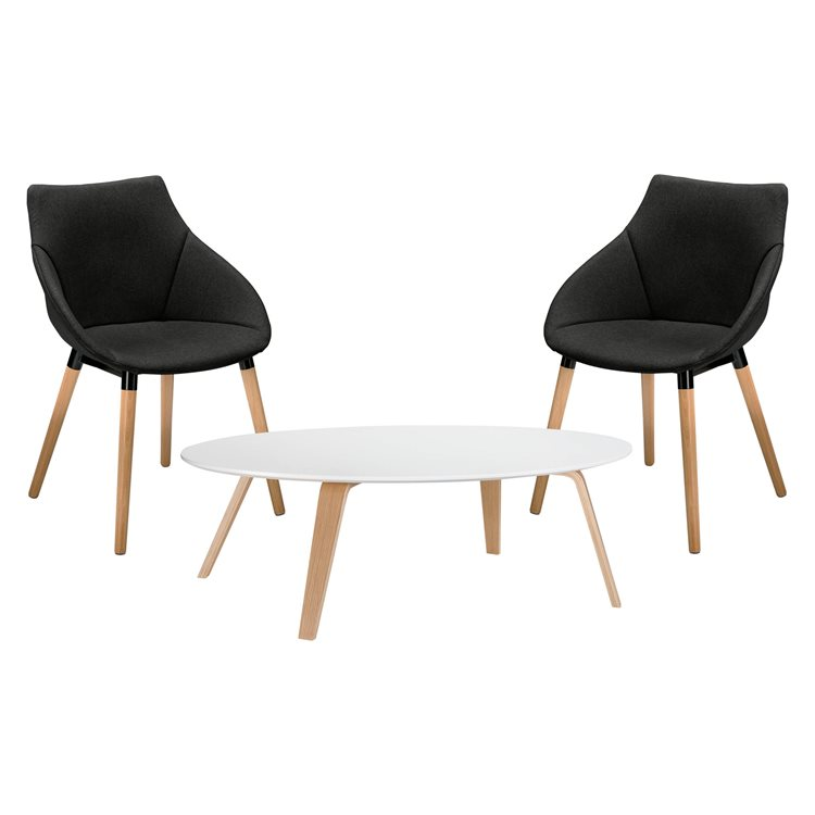 Pack 2 armchairs Anet and 1 low table Izoa