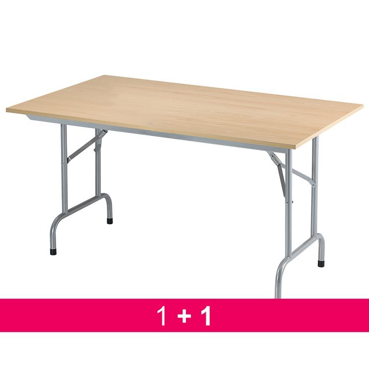 Pack buy 1 folding table Primera beech = get 1 identical table for free