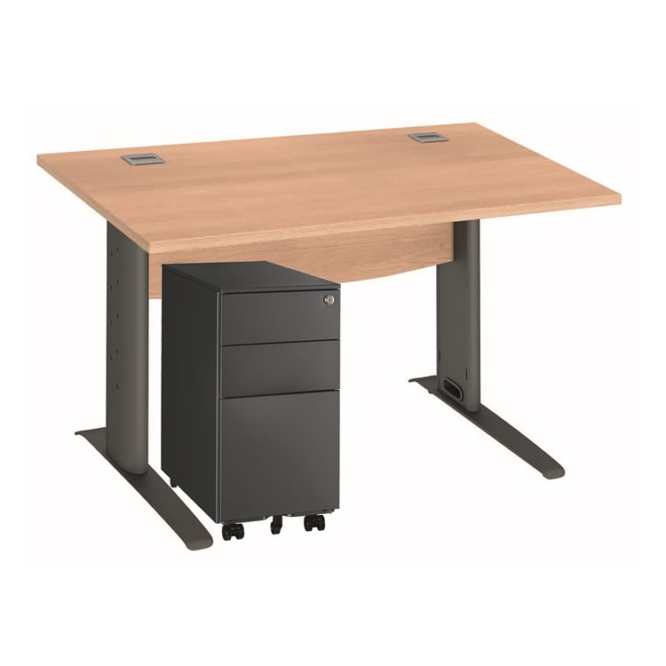 Pack desk W 120 cm Excellens metal + mobile drawer cabinet 3 drawers small width Bruneau anthracite