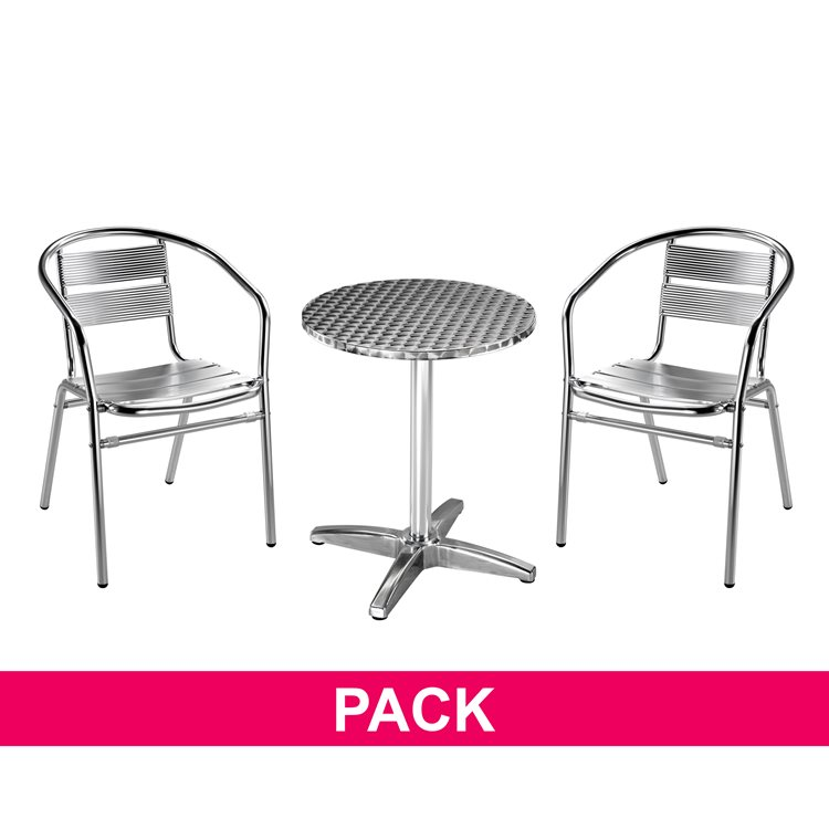 Pack Argentine - 1 round table + 2 armchairs