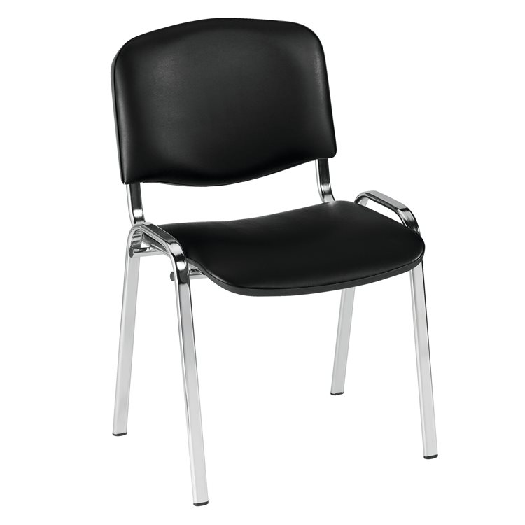 Meeting chair in black vinyl with chromed undercarriage
