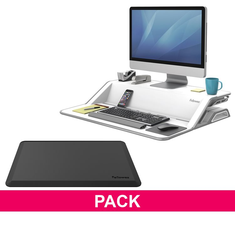 Ergonomic pack white sit-stand workstation Lotus and anti-fatigue mat Fellowes